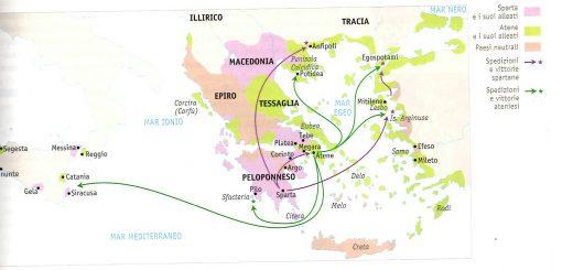 mappa territori sparta e atene nella guerra del Pelopponeso
